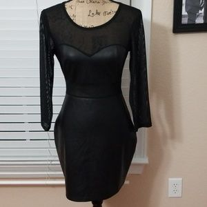 NWT bebe faux leather  and sheer black dress